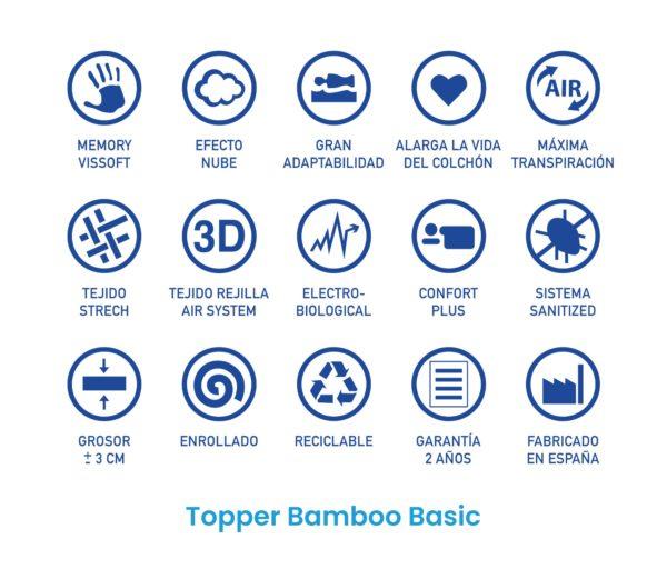 Topper viscoelástico Bamboo Basic